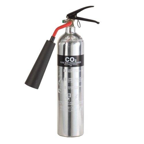 Polished Aluminium 2kg CO2 Fire Extinguisher