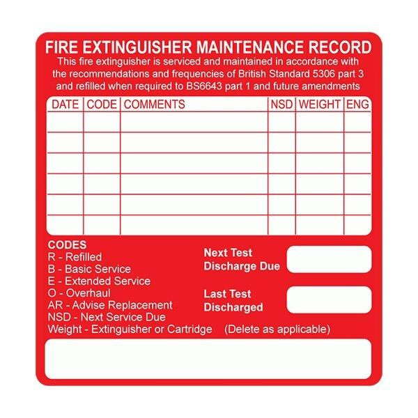 Fire Extinguisher Servicing Labels