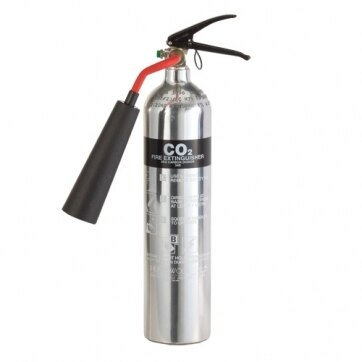 Image of the Polished Aluminium 2kg CO2 Fire Extinguisher